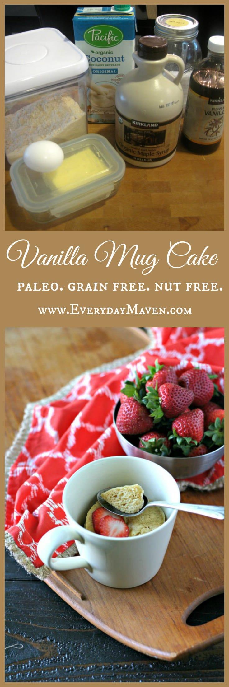 Paleo Vanilla Mug Cake  #NutFree #GrainFree #Paleo #MugCake #VanillaCake #GlutenFree #MicrowaveCake #Vanilla