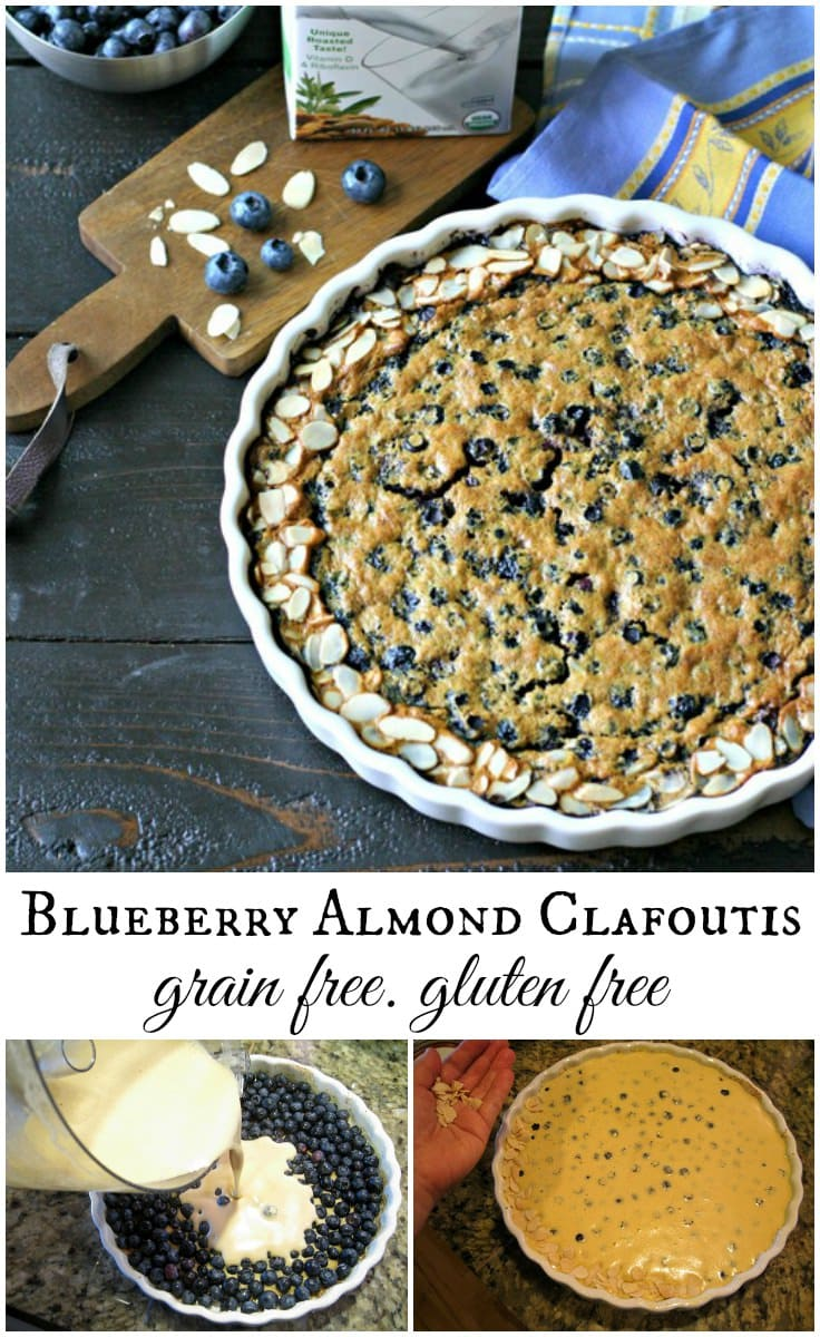 The perfect summer dessert! This grain-free Blueberry Almond Clafoutis is easy to make and lets those fresh berries shine.