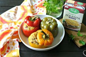 Slow Cooker Polenta and Chorizo Stuffed Peppers from www.EverydayMaven.com