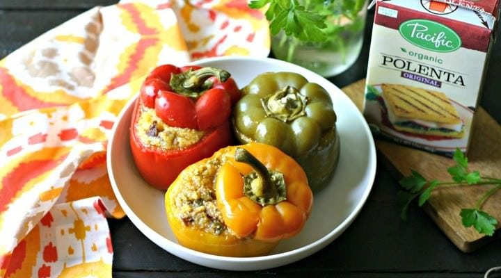 Slow Cooker Polenta and Chorizo Stuffed Peppers