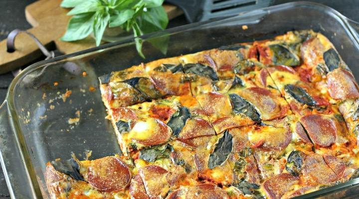 Pepperoni Pizza Egg Casserole (Dairy Free)