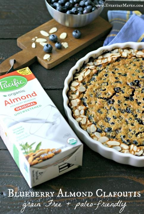 Grain Free Blueberry Almond Clafoutis from www.EverydayMaven.com