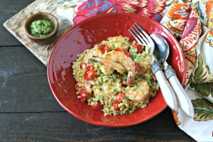 Pesto Cauliflower Rice with Shrimp