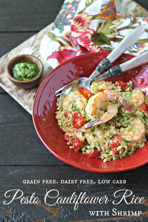 Pesto Cauliflower Rice with Shrimp from www.EverydayMaven.com