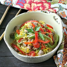 Sausage and Peppers over Zucchini Noodles