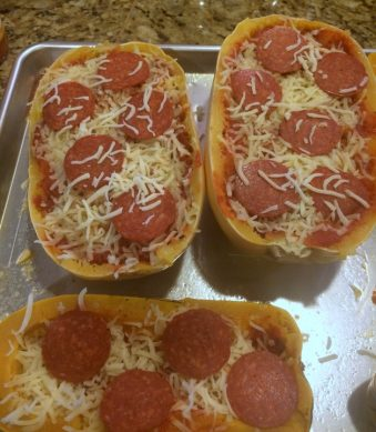 Pepperoni Pizza Spaghetti Squash Boats from www.EverydayMaven.com