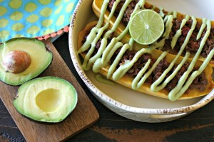 Taco Meat Stuffed Delicata Squash with {Dairy Free} Avocado Crema