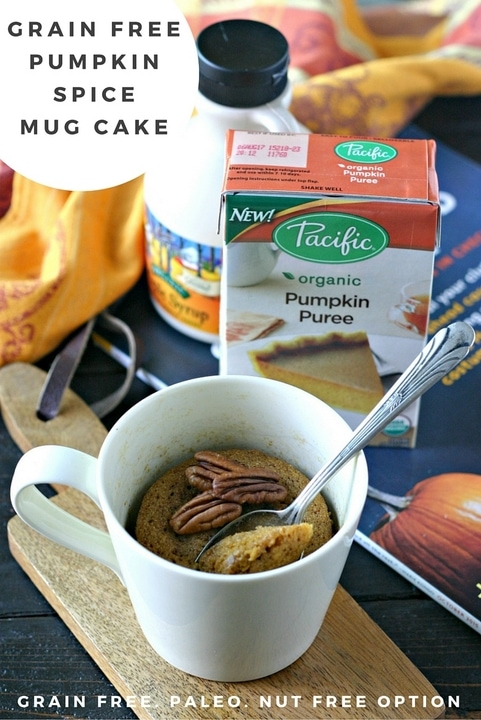 This Pumpkin Mug Cake is made with a handful of healthy ingredients and is the perfect sweet treat at the end of a crisp Fall day! Gluten Free and Paleo.