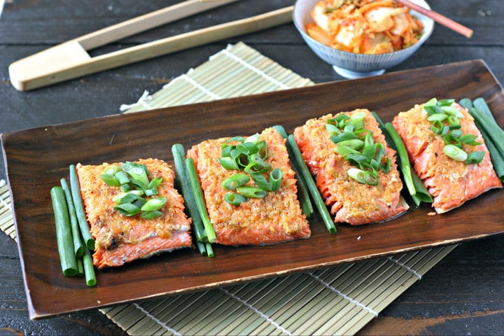Wild Alaskan Roasted Salmon topped with Kimchi Butter is an easy, low ...
