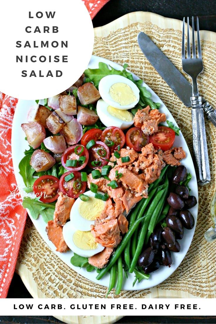A Low Carb version of Salmon Nicoise Salad. Made with roasted radishes in place of potatoes and with canned wild salmon to keep it quick and easy!