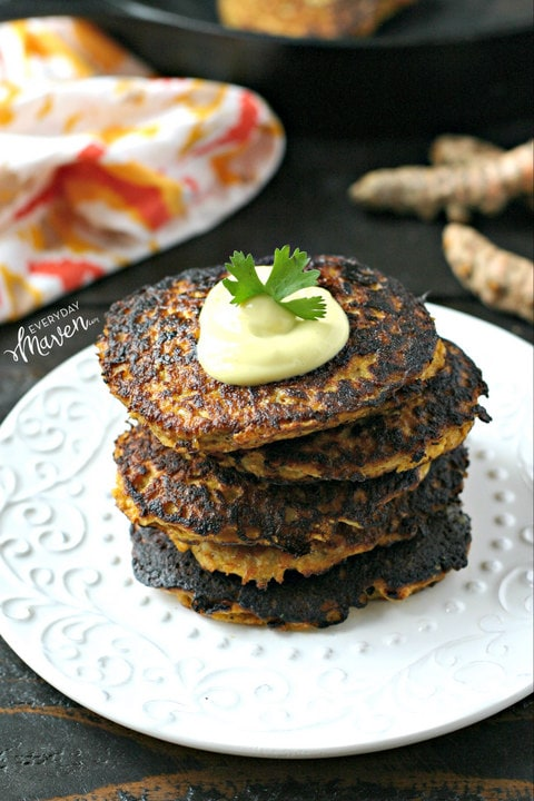 Turmeric Cauliflower Rice Fritters from www.EverydayMaven.com