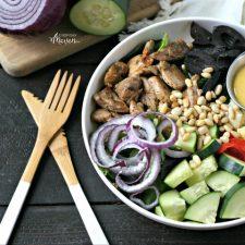 Mediterranean Chicken Bowl with Turmeric Tahini Dressing