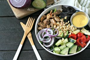 Mediterranean Chicken Bowl with Turmeric Tahini Dressing