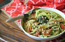 Vegan Zucchini Noodle Soup with Pesto from www.EverydayMaven.com