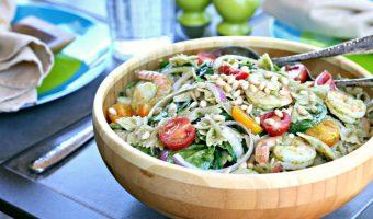 Gluten and Dairy Free Pesto Pasta Salad with Shrimp