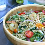 Gluten and Dairy Free Pesto Pasta Salad with Shrimp from www.EverydayMaven.com