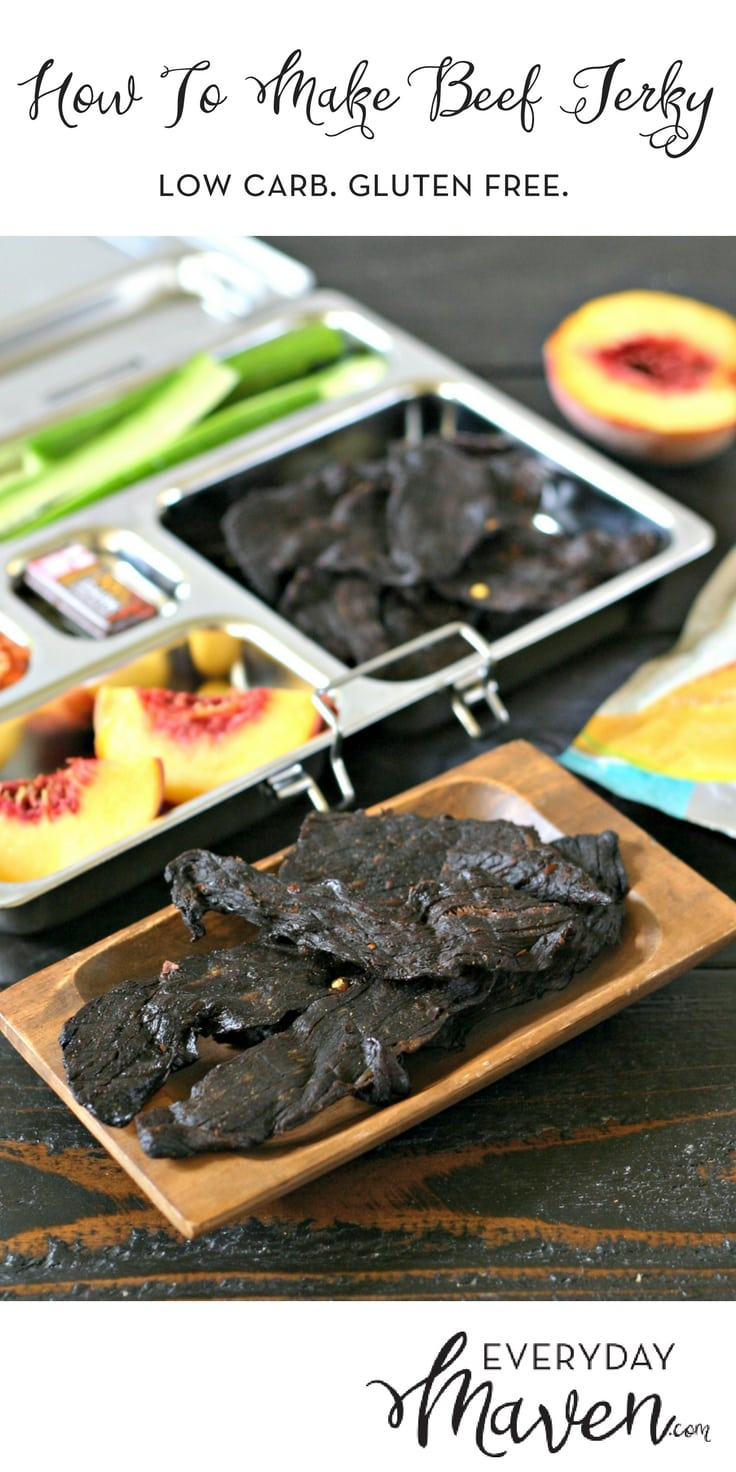 How To Make Beef Jerky in a Dehydrator. A healthier, gluten free and more economical way to stock up on Beef Jerky for lunchboxes and snacks!