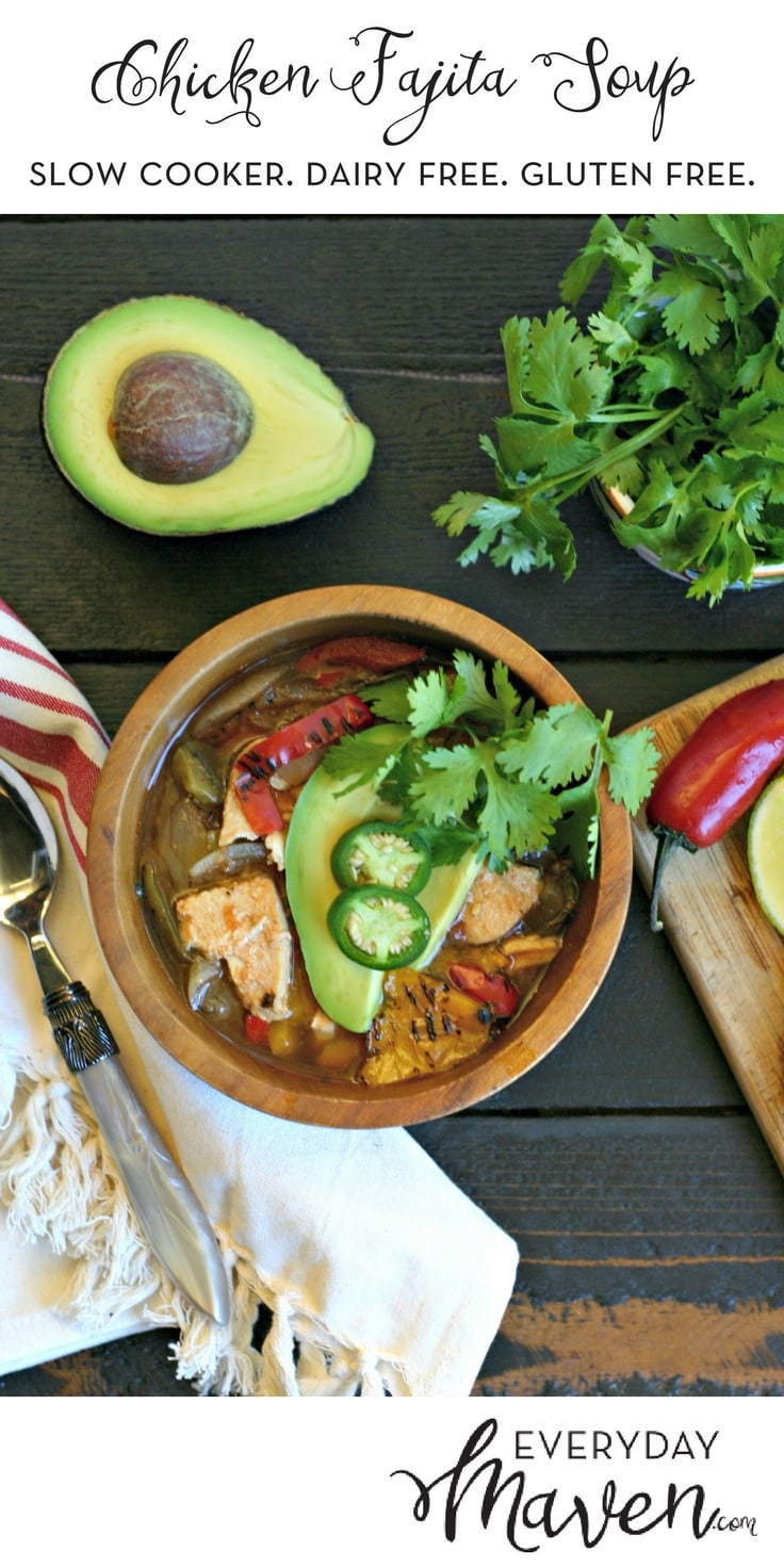Everything you love about Chicken Fajitas but in a filling and delicious slow cooker soup! Topped with avocado, cilantro and jalapeno, this is naturally Dairy Free!