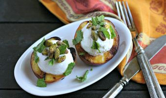 Grilled Nectarines with Greek Yogurt, Pistachios and Mint