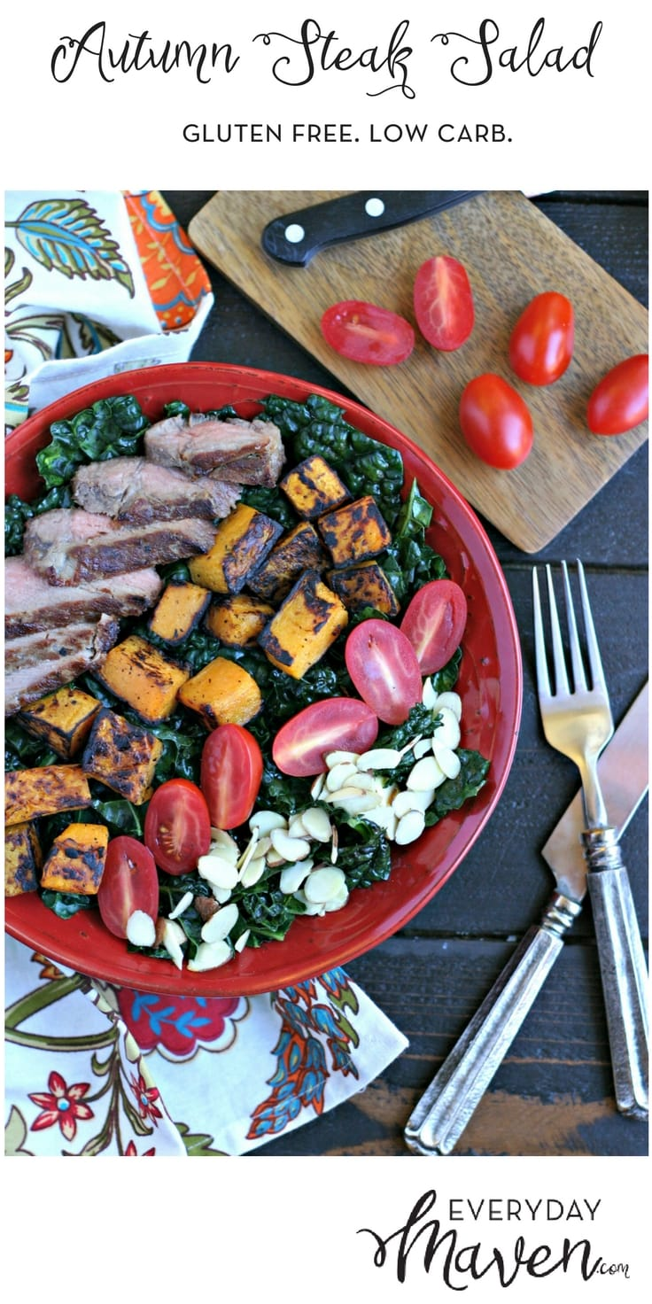 Grilled steak and butternut squash with crunchy sliced almonds over a bed of raw kale with garlic dressing.
