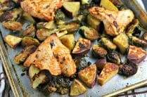 Sheet Pan Chicken Dinner with Brussels Sprouts and Sweet Potatoes from www.EverydayMaven.com