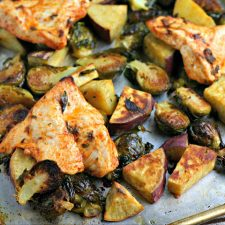 Sheet Pan Chicken Dinner with Brussels Sprouts and Sweet Potatoes