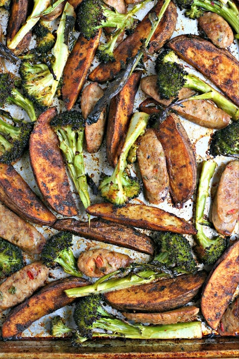 Italian Sausage, Broccoli Spears and Paprika Potato Wedges Sheet Pan Dinner from www.EverydayMaven.com