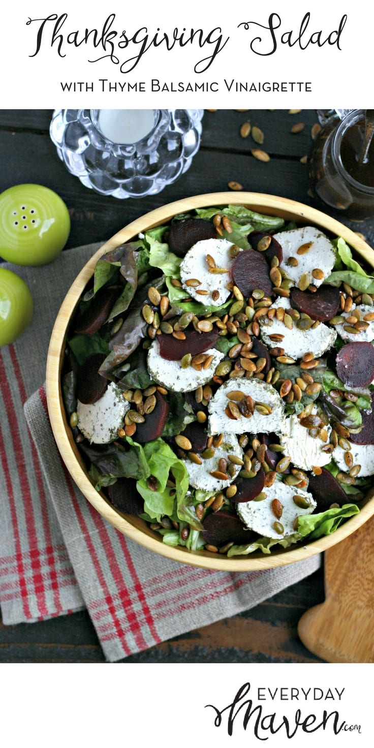 My Thanksgiving Salad with Thyme Balsamic Vinaigrette is vegetarian, gluten free and can be made in advance. A GORGEOUS and easy way to include fresh greens on your holiday table. 
