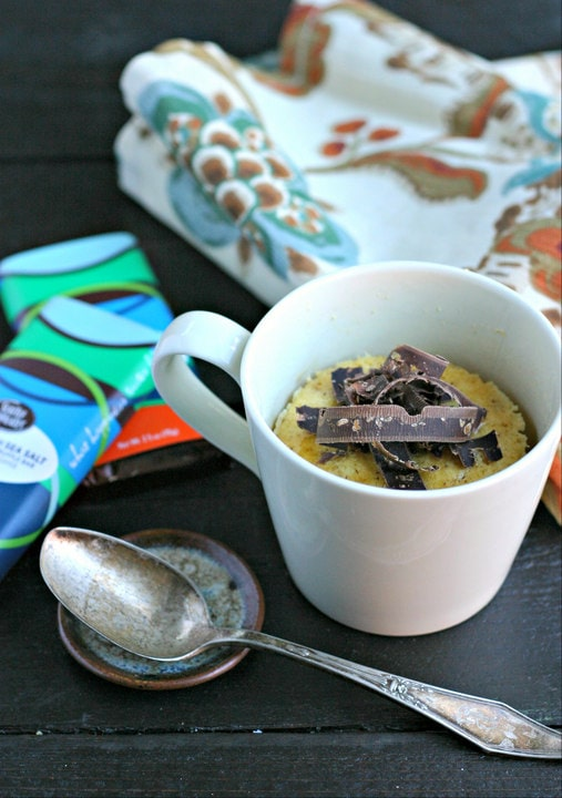 Maple Mug Cake with Chocolate Toffee Shavings from www.EverydayMaven.com