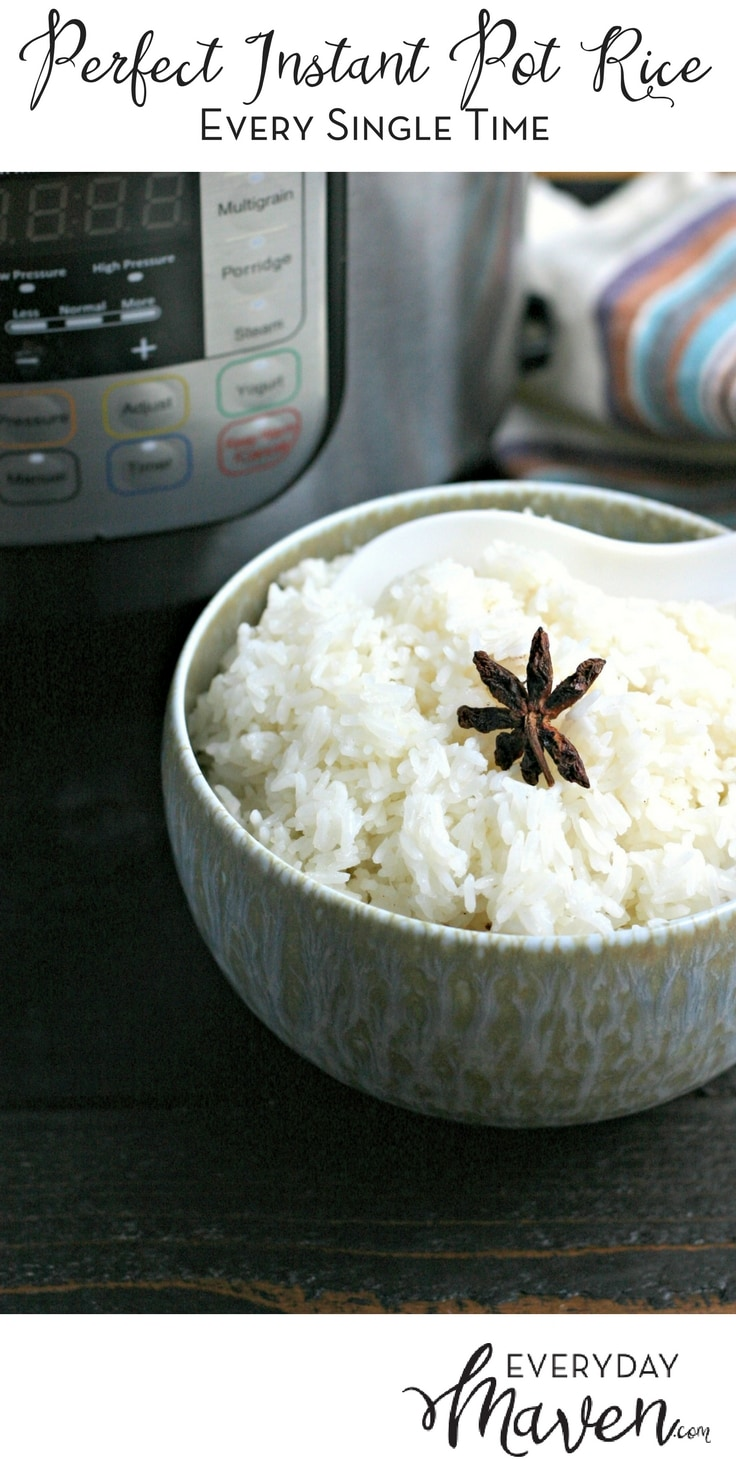How To Make Perfect Instant Pot Rice every single time! An easy tutorial for how to make perfect rice in the Instant Pot with just a bit of spices and oil. Hint: It's all about the water:rice ratio! #instantpot #instantpotrice #howtomakerice