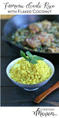 Turmeric Cauliflower Rice with Coconut from www.EverydayMaven.com