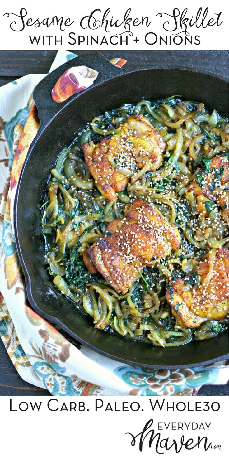 Sesame Chicken Skillet with Spinach and Onions. A one pan meal that is naturally gluten free, low carb and Whole30 friendly!