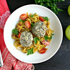 Chicken Meatballs with Pesto Butternut Squash Noodles