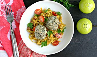 Chicken Meatballs with Pesto Butternut Squash Noodles