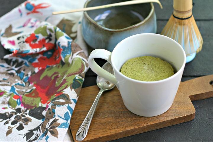 Low Carb and Sugar Free Matcha Mug Cake from www.EverydayMaven.com