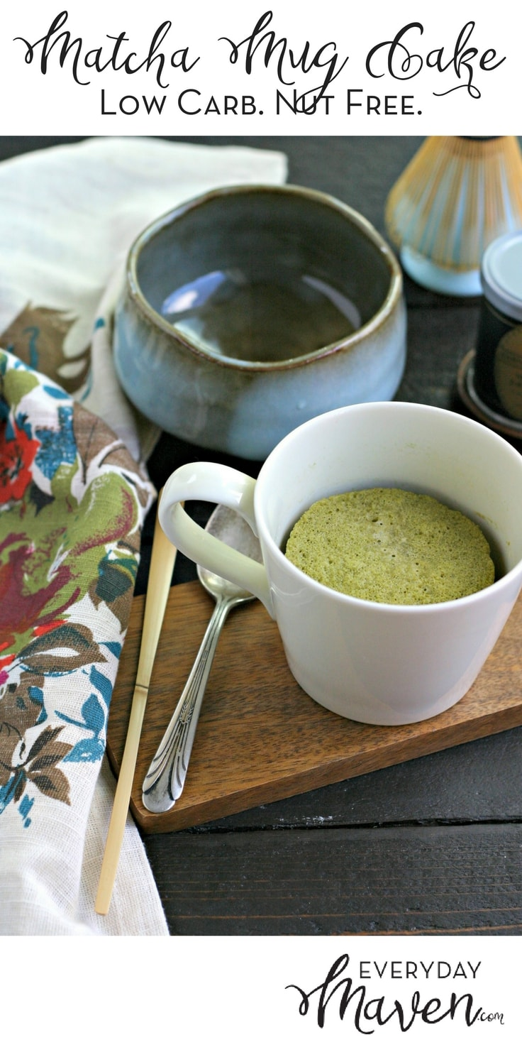 This Low Carb Matcha Mug Cake is not only sugar free but also nut free!