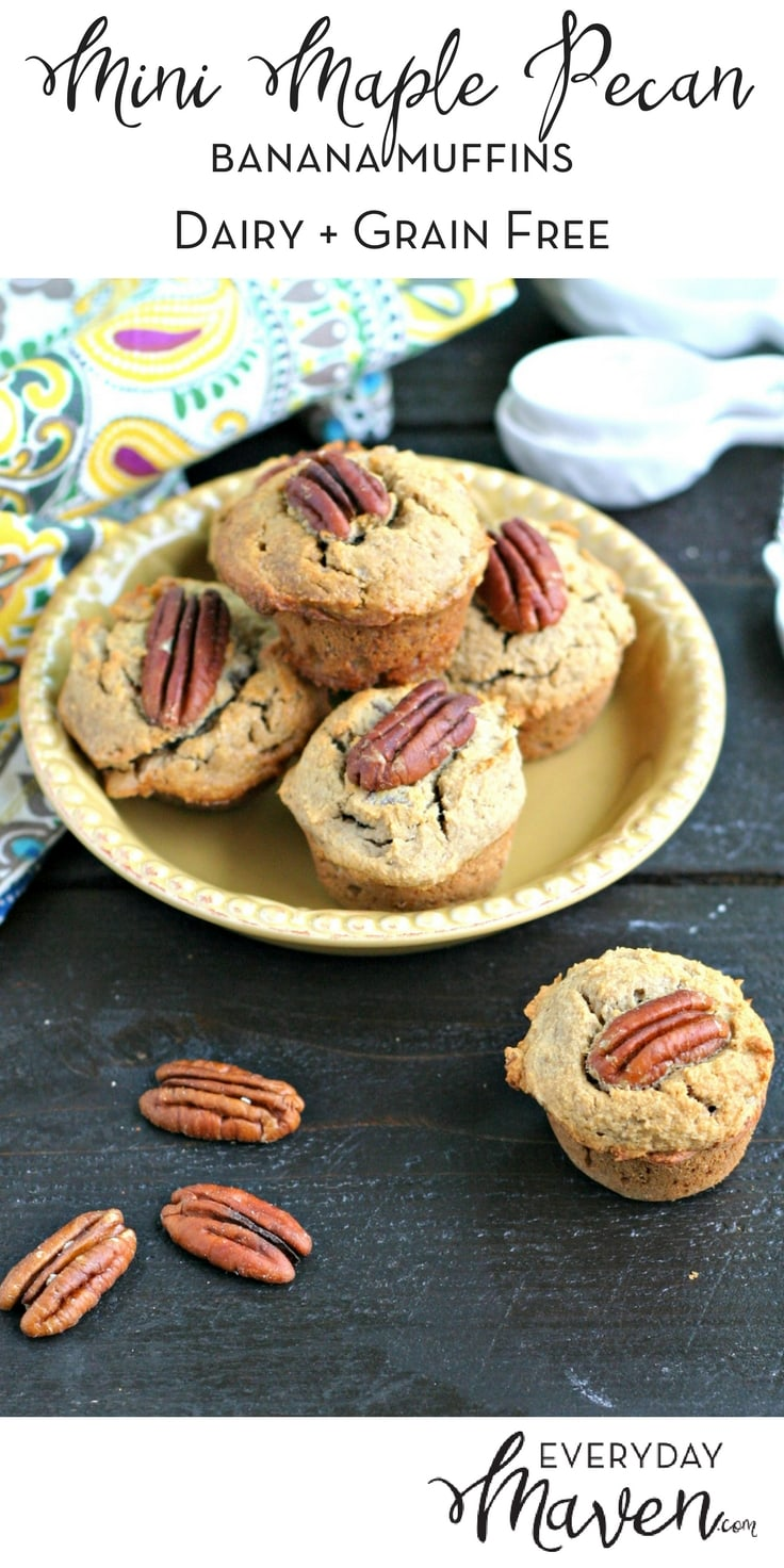 These Mini Maple Pecan Banana Muffins are so easy to make and freeze great! Perfect for little fingers and naturally grain, gluten and dairy free!