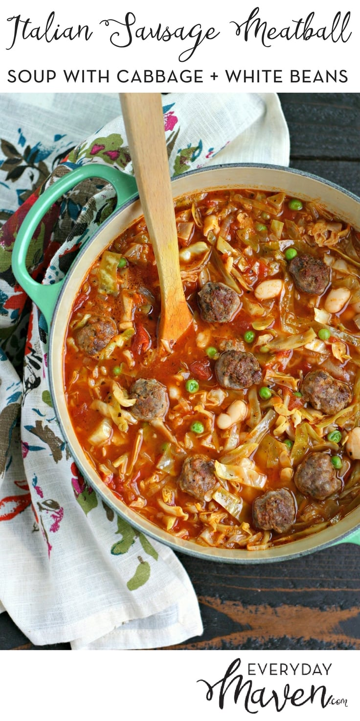 This Italian Sausage Meatball Soup with Cabbage and White Beans is a gluten free, grain free and dairy free soup that is a meal in a bowl!