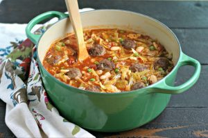 Italian Sausage Meatball Soup with Cabbage and White Beans