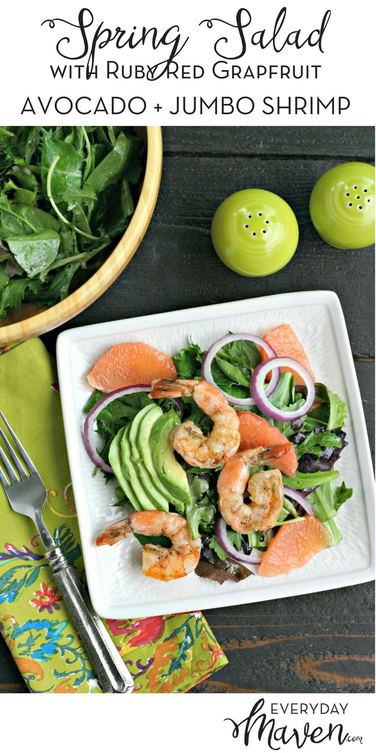 Spring Salad with Ruby Red Grapefruit, Avocado, Shrimp and Red Onion. A low carb, gluten free and paleo dish that is packed with flavor!