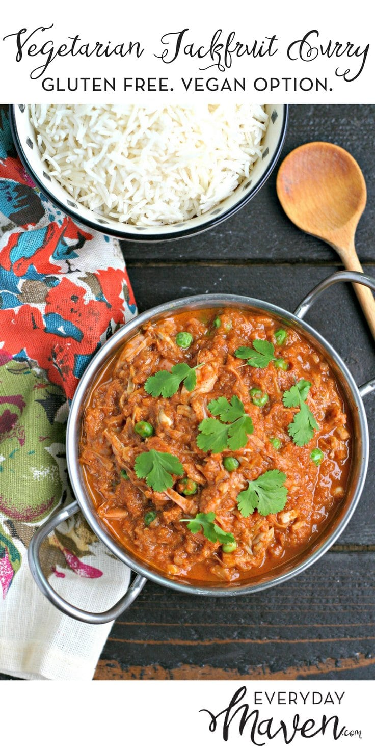 This Vegetarian Jackfruit Curry is gluten and grain free with a vegan option. A plant based dinner that can be served with rice or cauliflower rice!