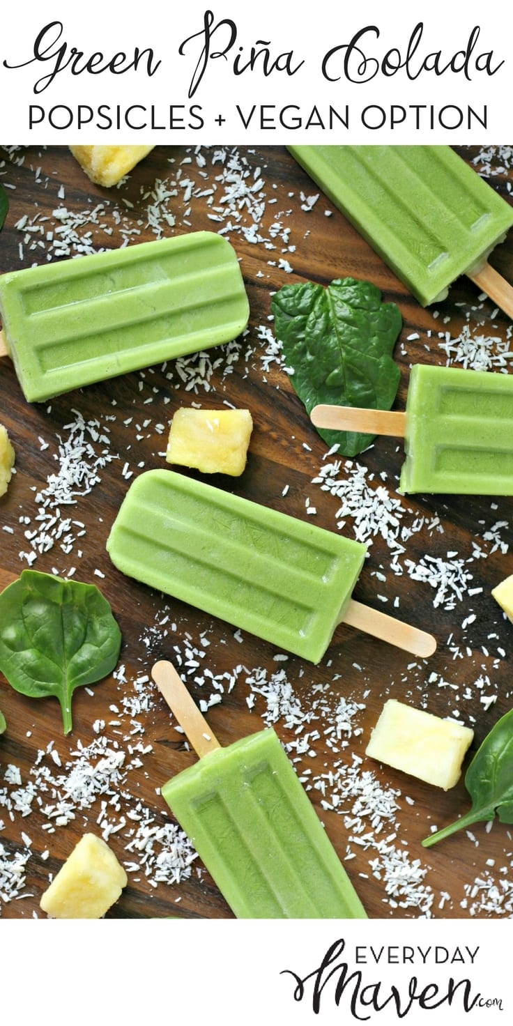 Green Piña Colada Popsicles are a healthy and refreshing popsicle loaded with fresh spinach! Vegetarian but can be made vegan with a simple substitution!