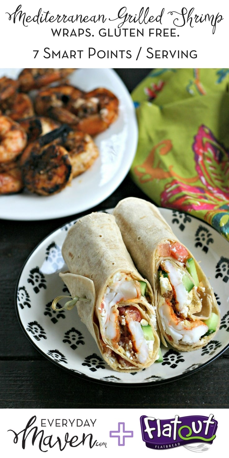 These Gluten Free Mediterranean Grilled Shrimp Wraps are the perfect busy weeknight dinner. On the table in under 20 minutes start to finish!