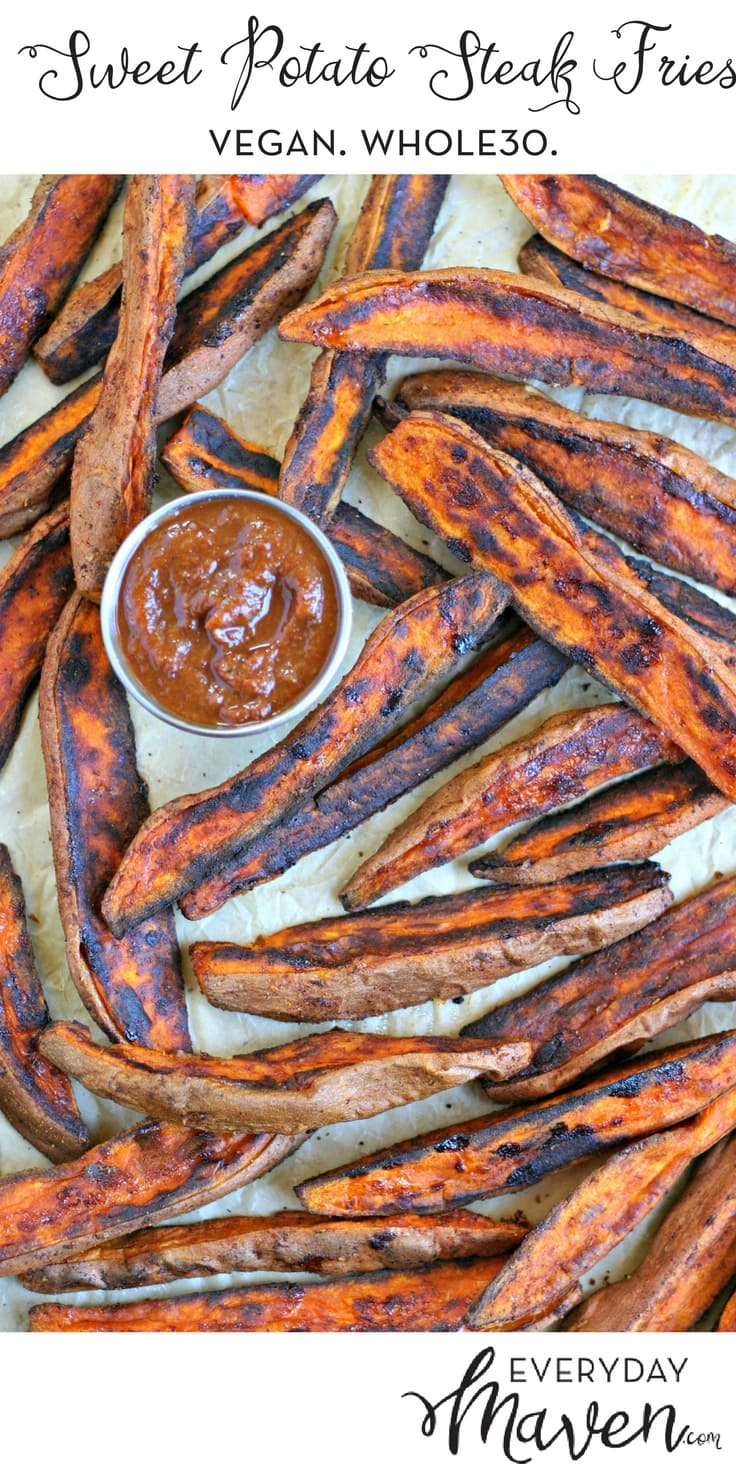 These Sweet Potato Steak Fries are the perfect side dish for just about any meal. Make a big batch and you can reheat to crisp them back up!