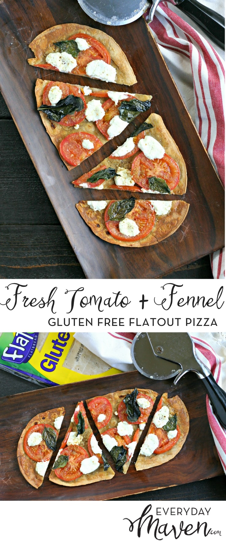 Fresh Tomato Pizza with Crushed Fennel and Goat Cheese. A simple vegetarian personal pizza that is on your  plate in under 15 minutes total time!