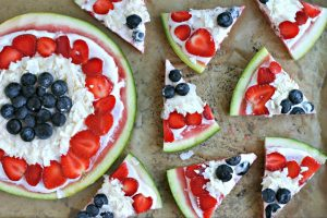 Red, White and Blue Watermelon Pizza