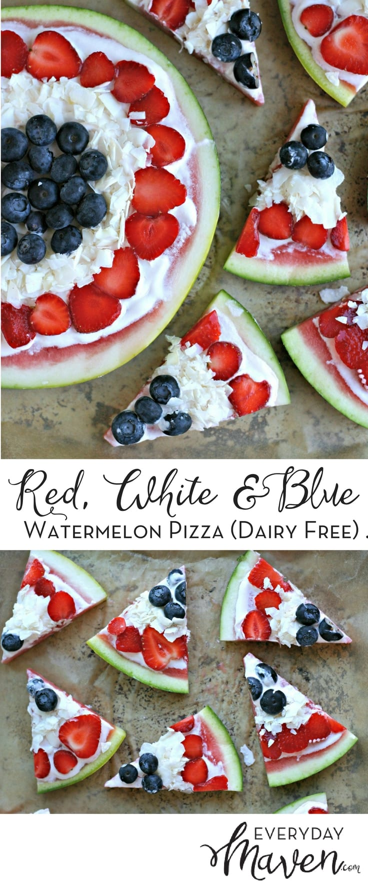 Red, White and Blue Watermelon Pizza. A healthy take on a fun summer dessert that is gluten free and dairy free! Perfect for Memorial Day and July 4th!