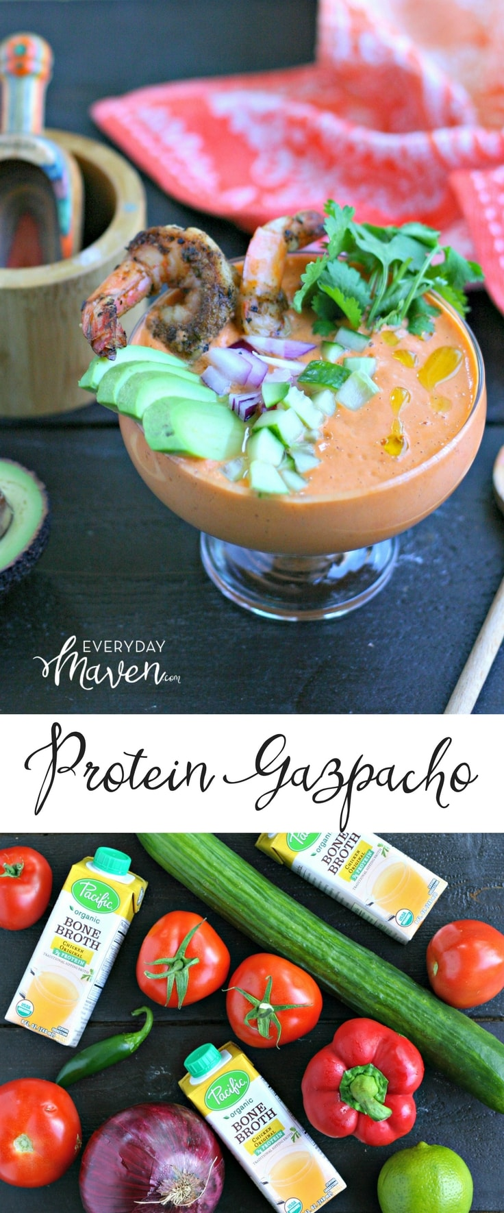 This Bone Broth Gazpacho Recipe has a boost of Bone Broth protein and is made with ripe summer vegetables in minutes! Naturally low carb and gluten free!