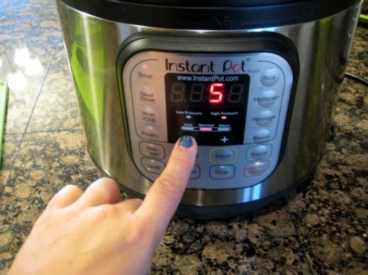 Setting the Instant Pot for Taco Soup www.EverydayMaven.com