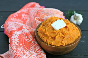 Instant Pot Vegan Mashed Sweet Potatoes with Garlic and Rosemary